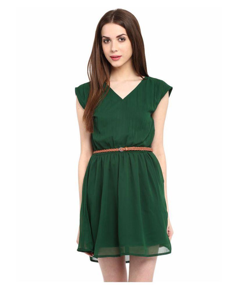 La Zoire Georgette Green Regular Dress