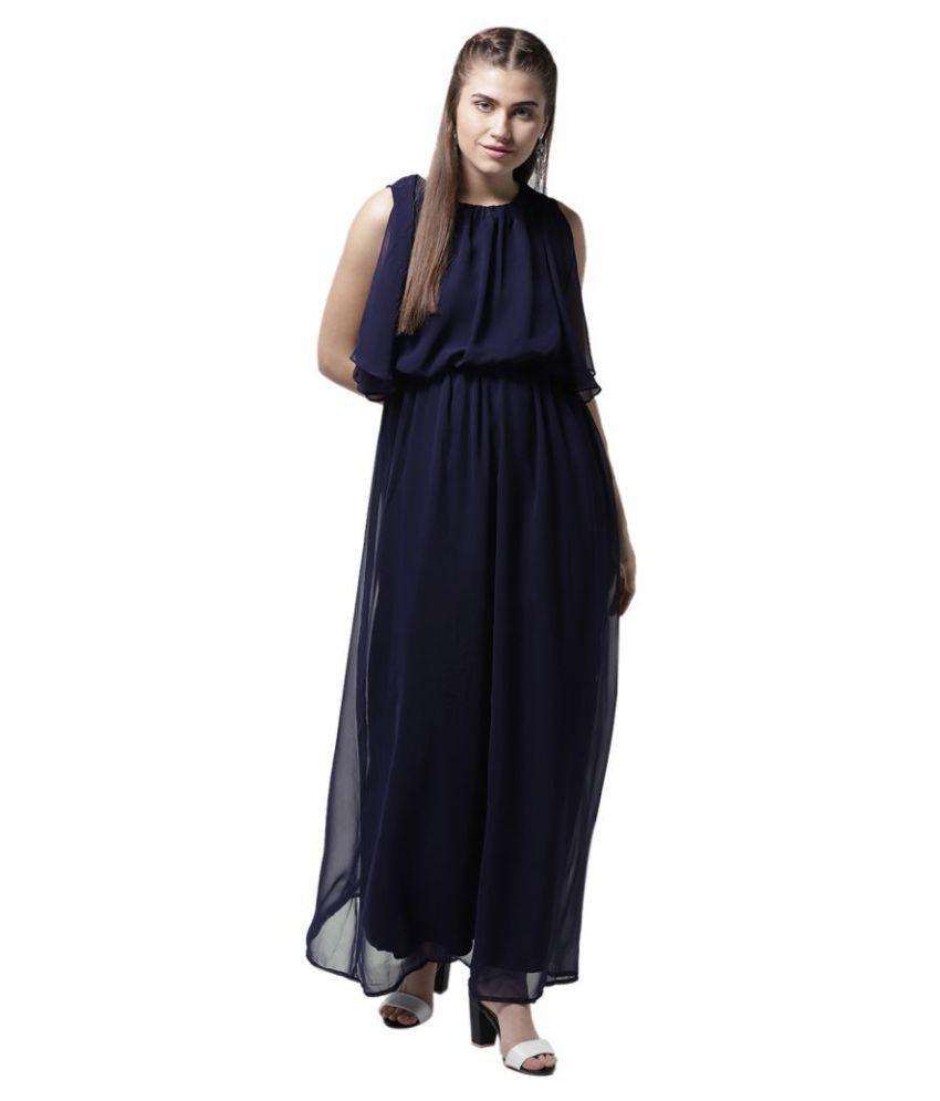 La Zoire Georgette Navy Regular Dress