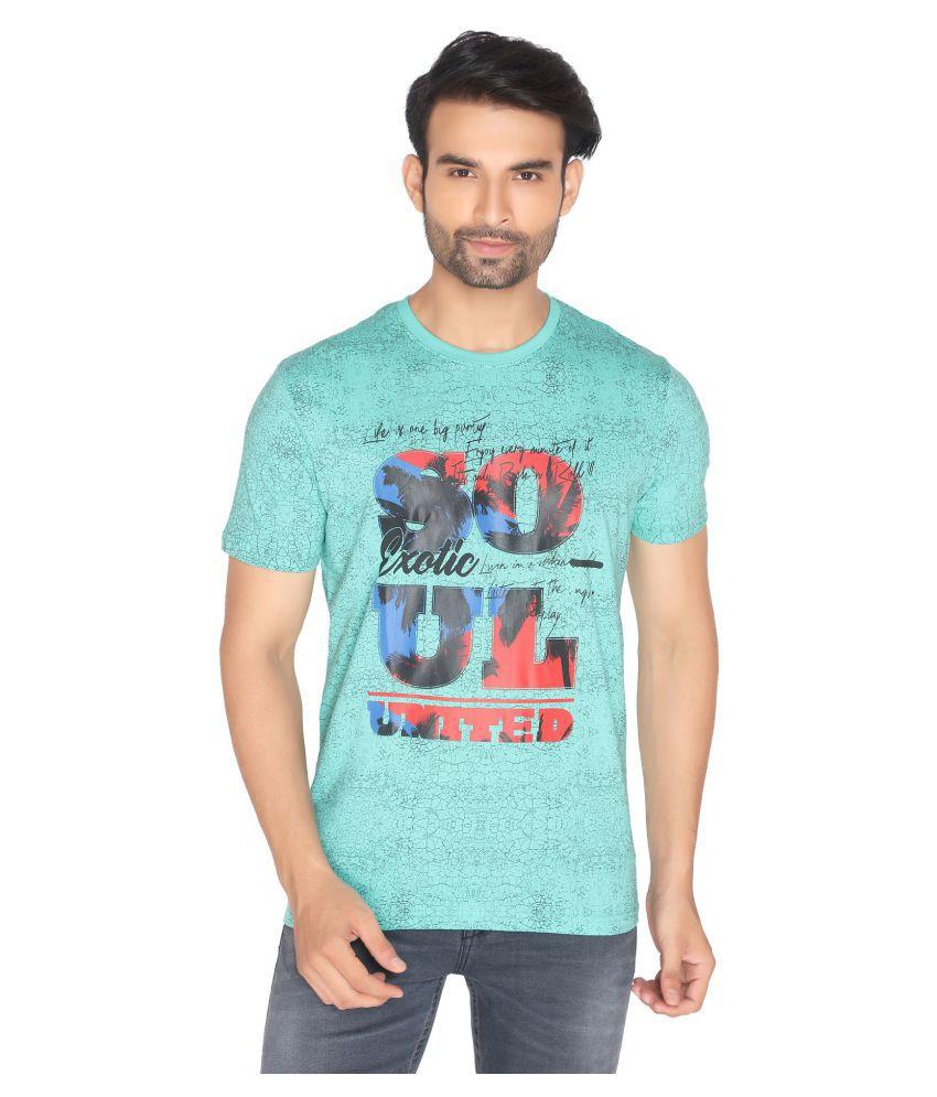 NEXGEN CLUB Cotton Blend Green Printed T-Shirt