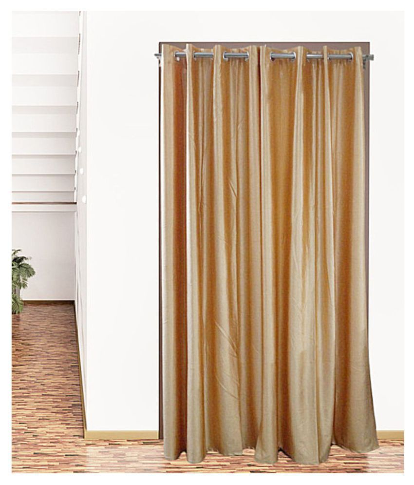 Snuggle Set of 2 Long Door Eyelet Polyester Curtains Gold