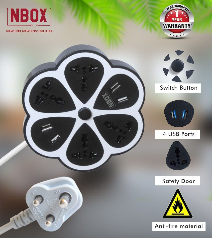 NBOX 4 Socket Extension Board with 4 USB slots