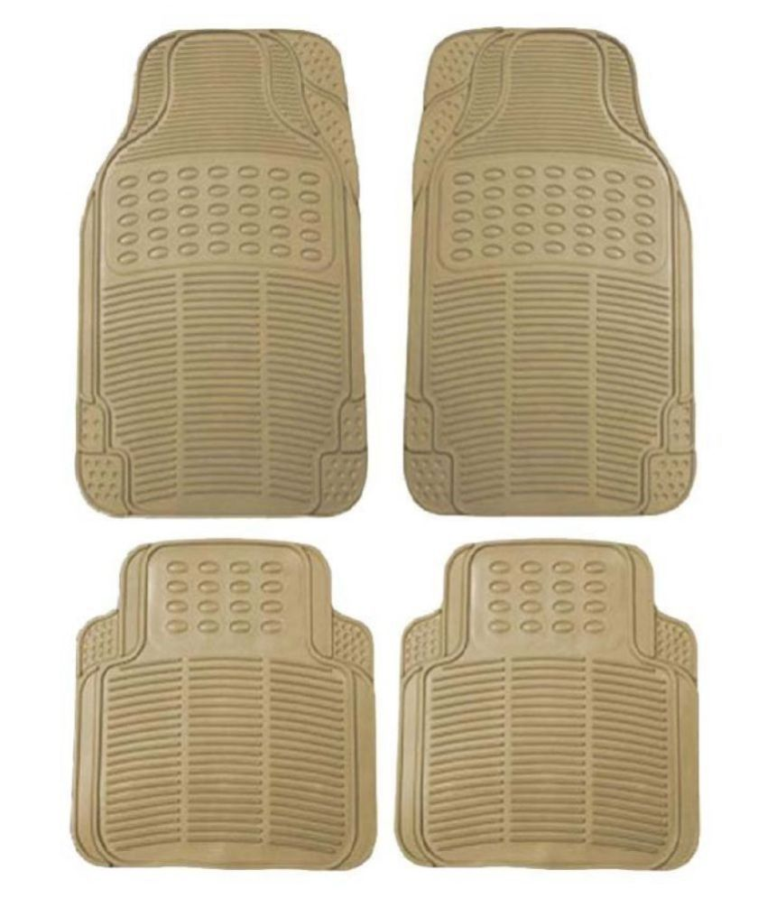 Autofetch Rubber Car Floor/Foot Mats (Set of 4) Beige for Tata Indica