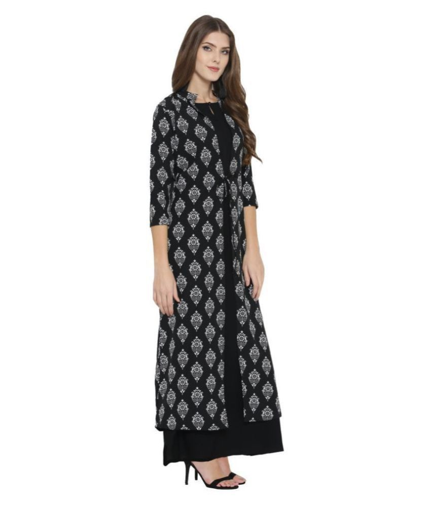 Cottinfab Poly Crepe Black A- line Dress