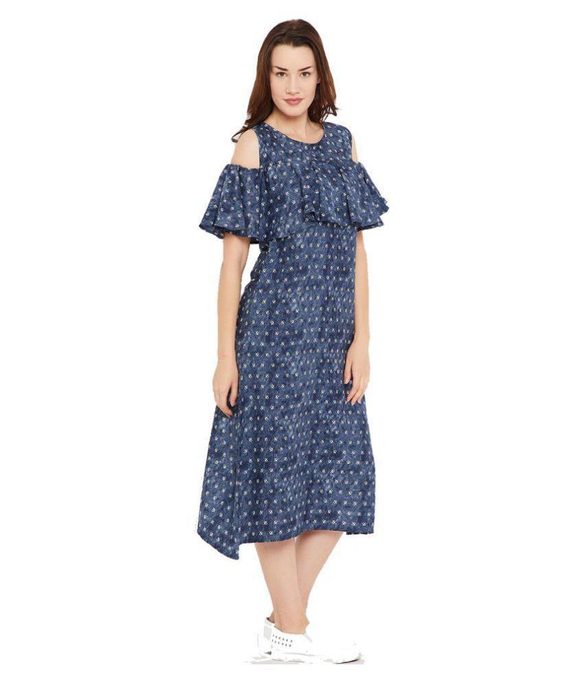 Cottinfab Poly Crepe Blue A- line Dress