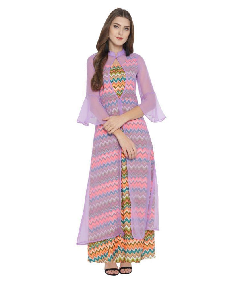 Cottinfab Poly Crepe Multi Color A- line Dress