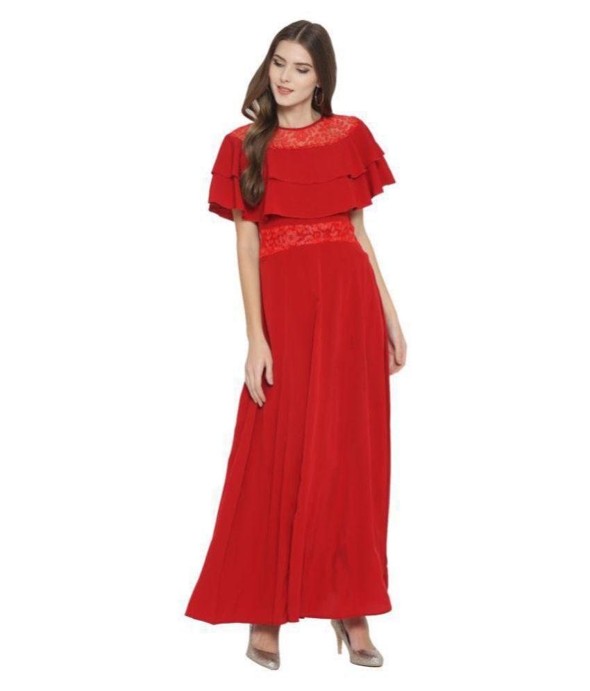 Cottinfab Poly Crepe Red Regular Dress
