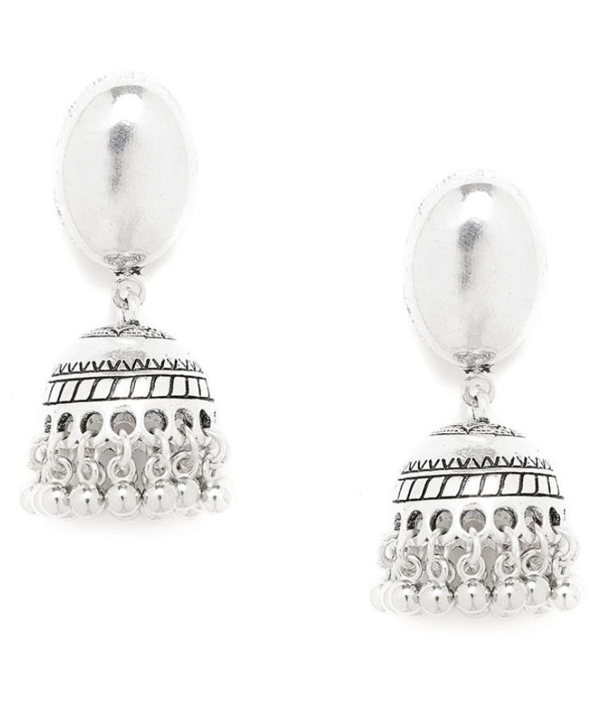 ZeroKaata Oval Tribal Jewellery Short Jhumkis With Hanging Silver Bells