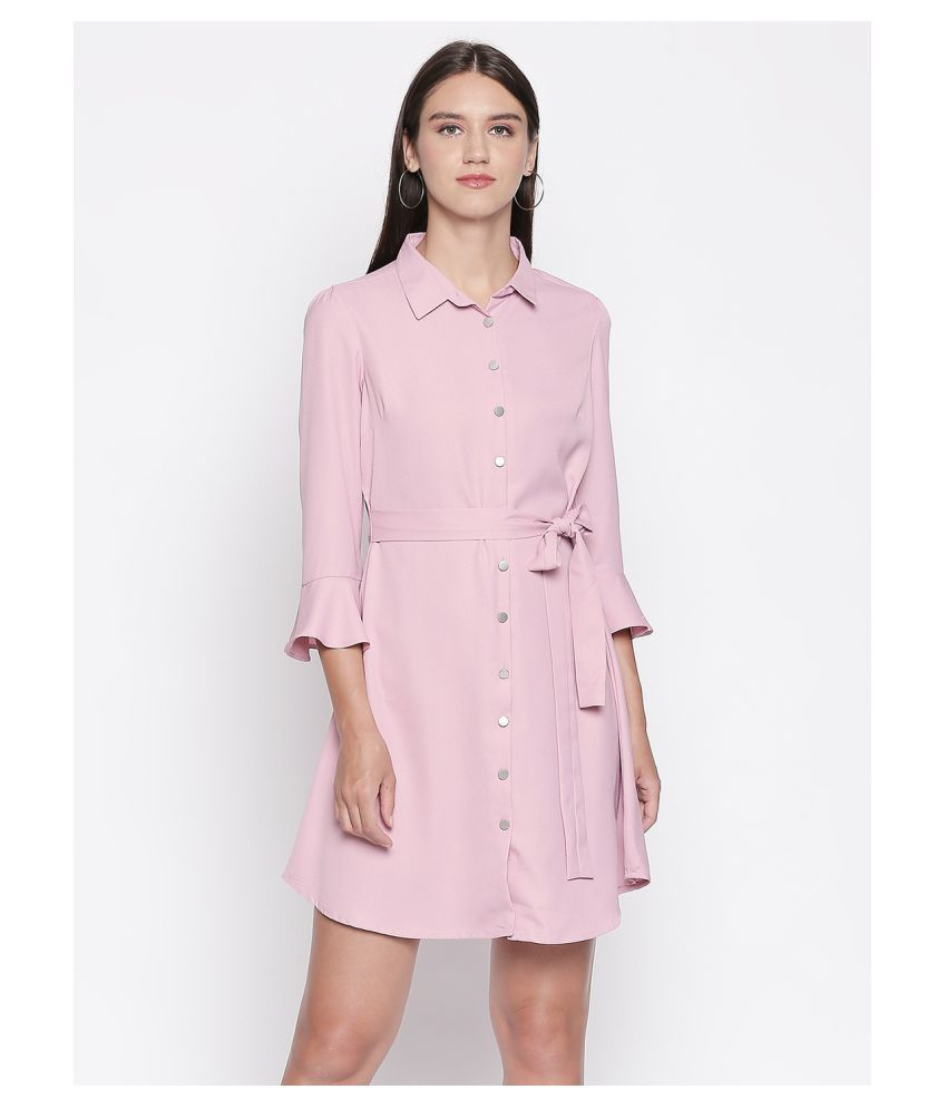 Mesmerize Poly Crepe Purple Shirt Dress
