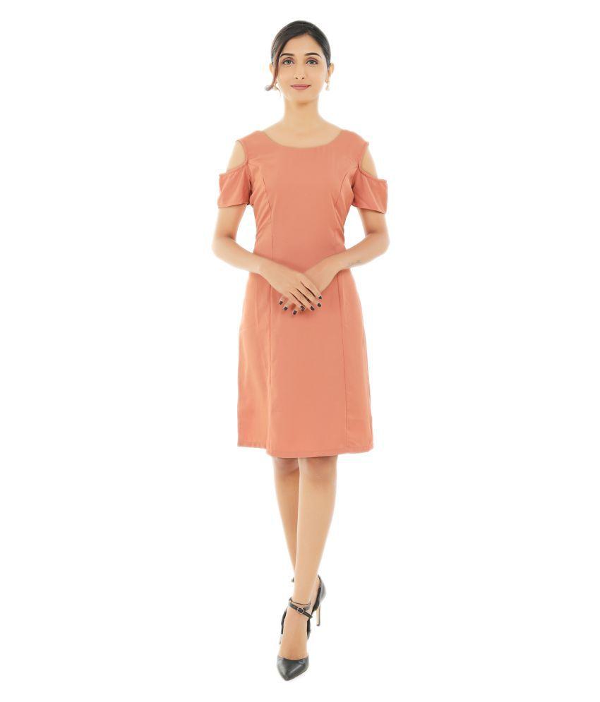Fashion Tadka West Crepe Peach A- line Dress