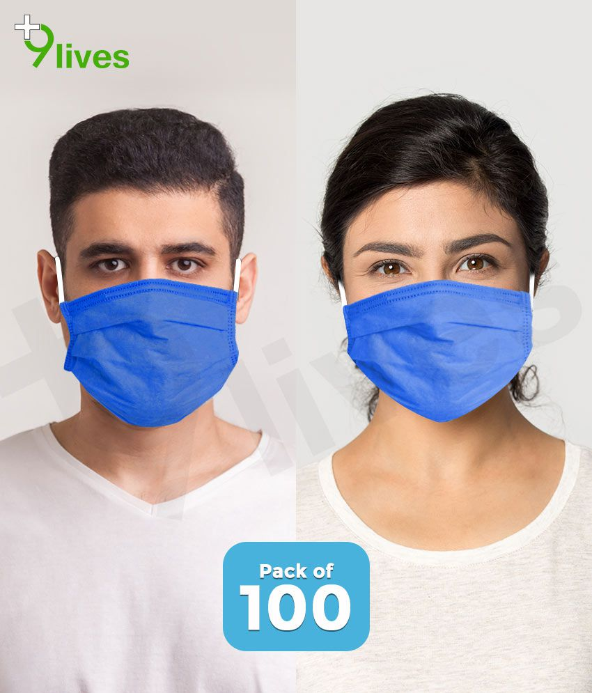 9lives 3 Ply Ultrasonic Seaming Disposable Face Mask with Nose Pin -( Blue, Pack of 100 )