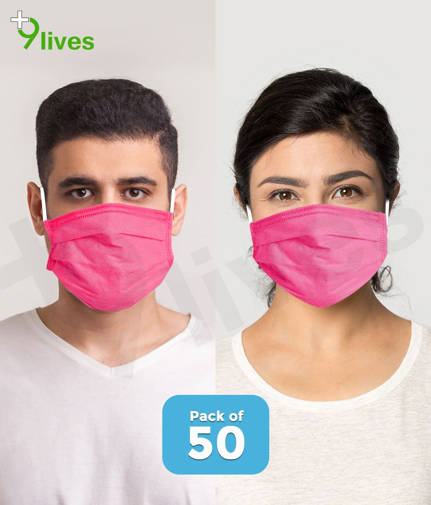 9lives Anti Pollution 3 Ply Ultrasonic Seaming Disposable Face Mask with Nose Pin -( Pink , Pack of 50 )