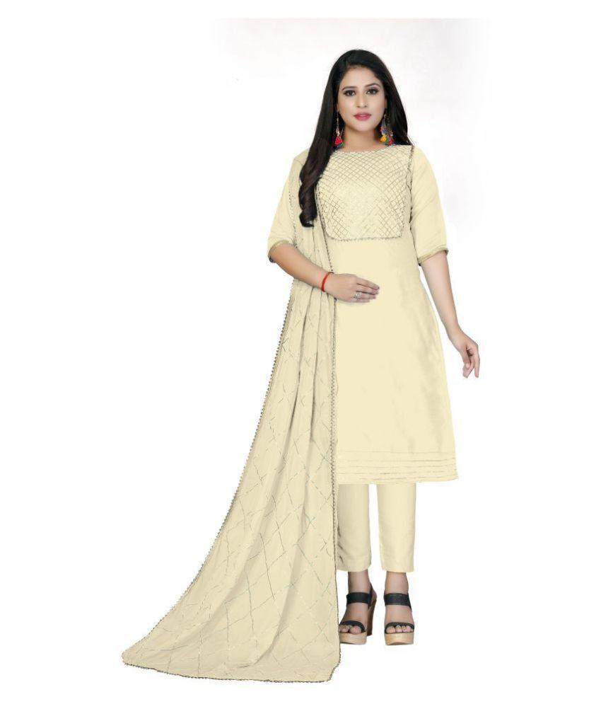SAINOOR Beige Cotton Dress Material