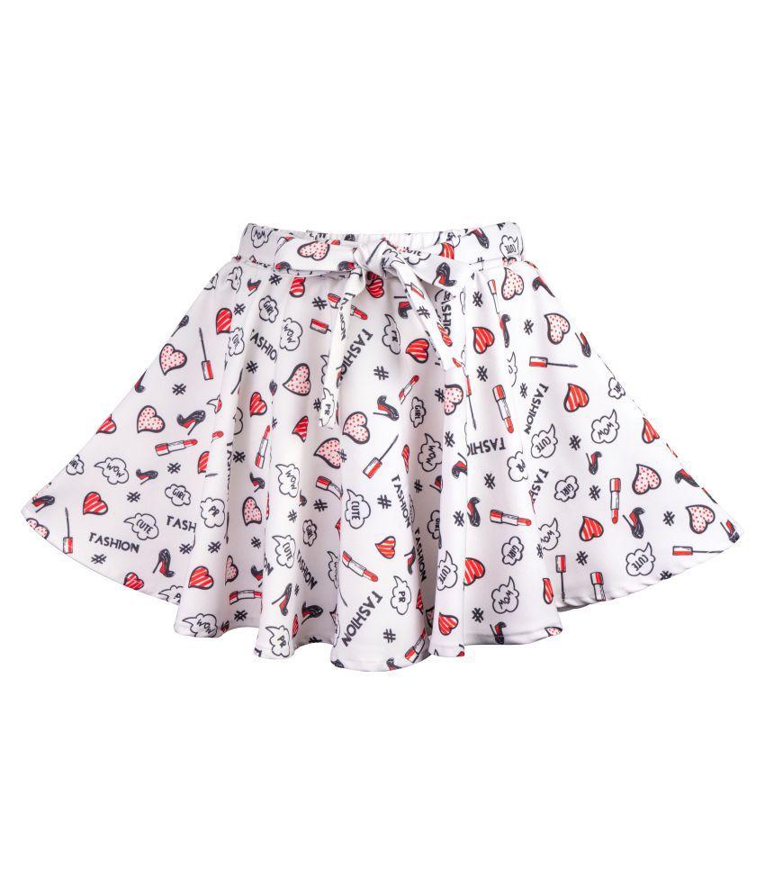 Hunny Bunny Girls Red Printed Flared Skirt