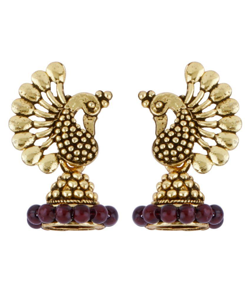 Silver Shine Dazzling Red Beads in Peacock Shape Jhumki Earrings