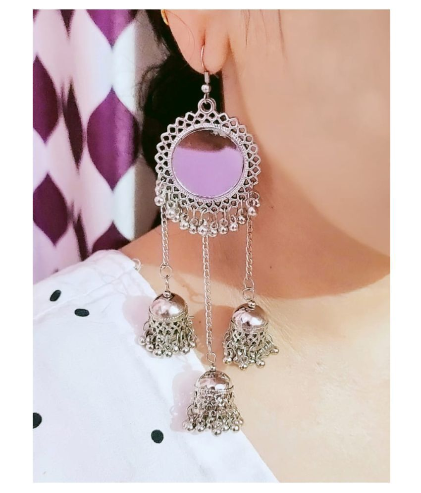 Aliza collection's oxidised afghani  germen silver earings with mirror for girls and women