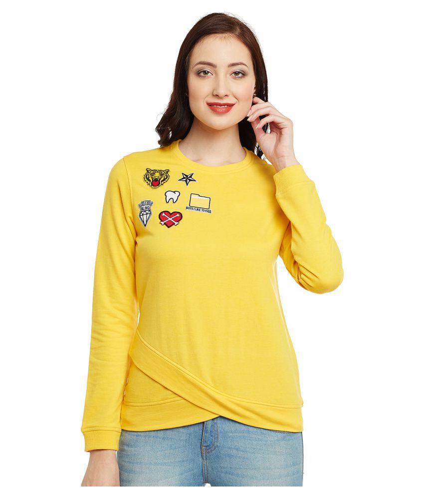 Club York Cotton - Fleece Yellow Non Hooded Sweatshirt