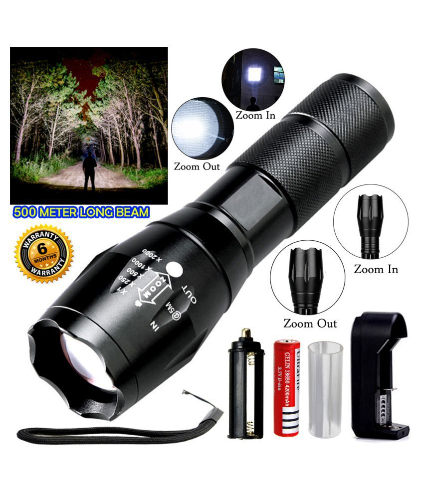 DGM 500 Meter Range 5 Mode - High, Medium, Low, Blinker, SOS Rechargeable 20W Flashlight Torch Metal Waterproof - Pack of 1