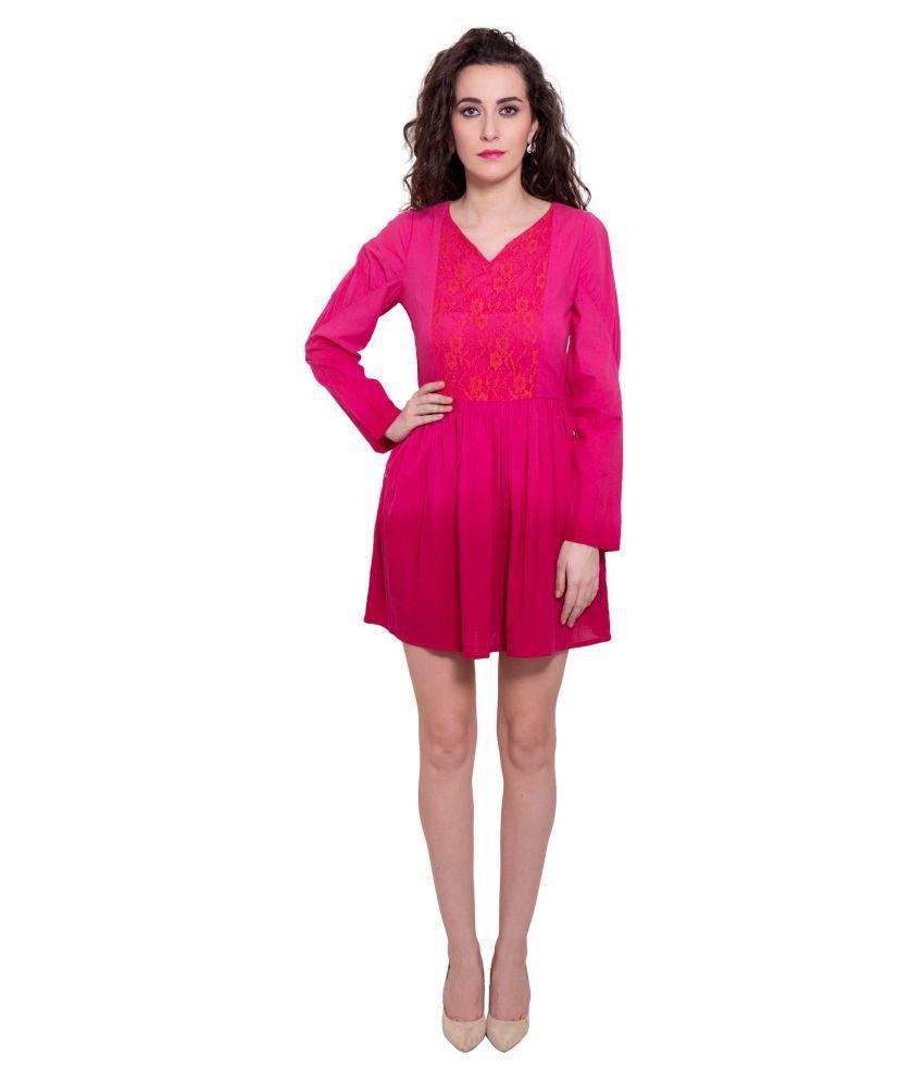 Forever9teen Cotton Pink Regular Dress
