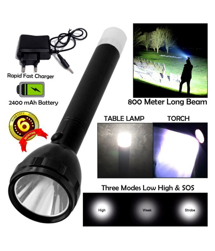 GLOBAL ART 2in1 KG 800M Range Long Beam 2 Mode Waterproof Chargeable LED 50W Flashlight Torch Emergency Table Lamp - Pack of 1