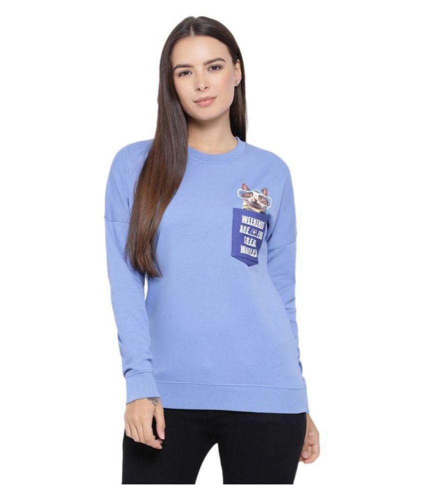 Moda Elementi Fleece Blue Non Hooded Sweatshirt