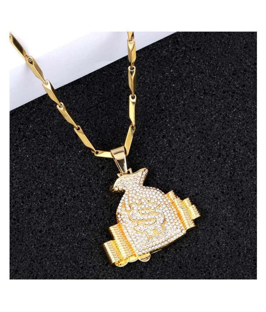SILVER SHINE Exclusive  Gold Plated Daimond Pendent Chain For Man And Boy