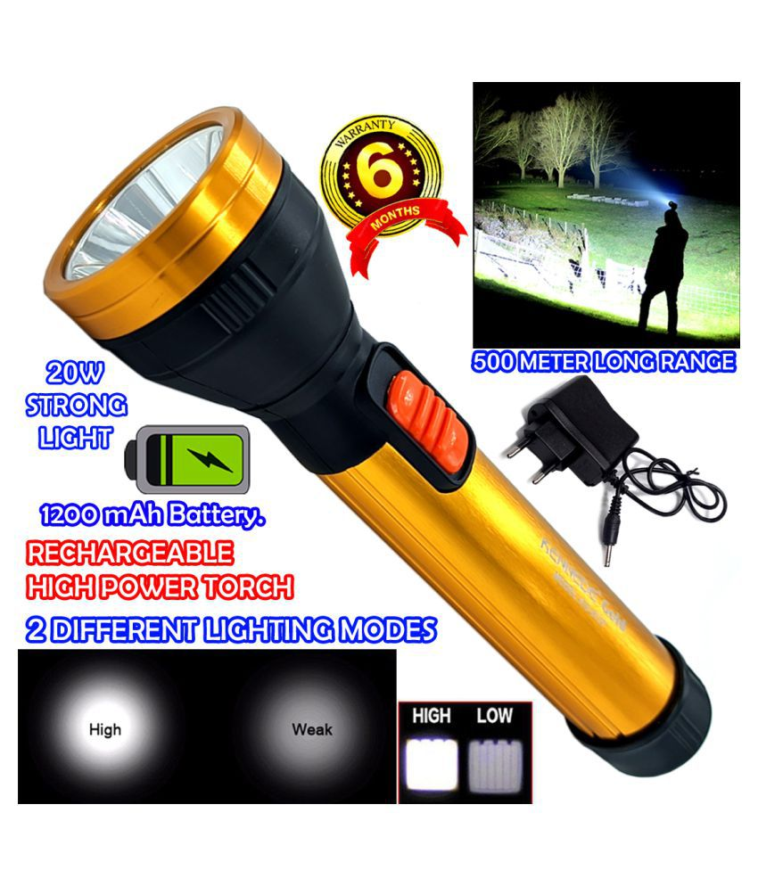 DGM 500 Meter Long Beam Waterproof Chargeable LED 2 Mode Industrial Security 20W Flashlight Torch Home / Outdoor Lamp - Pack of 1
