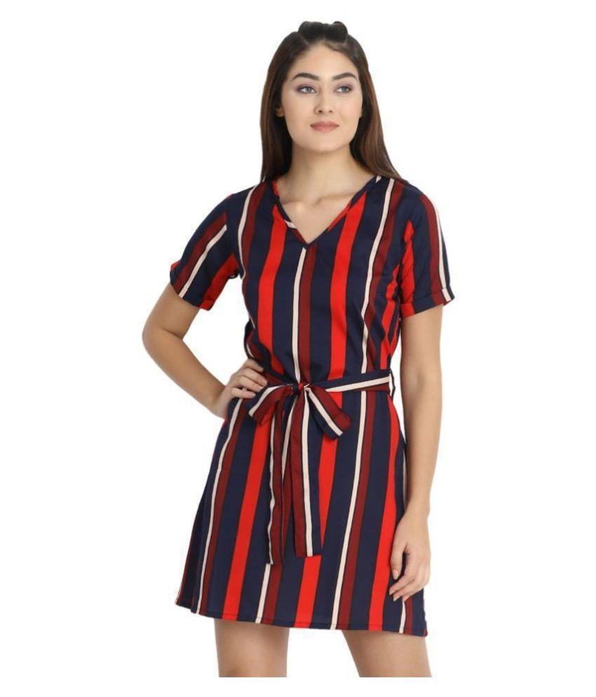 Exxelo Crepe Multi Color A- line Dress