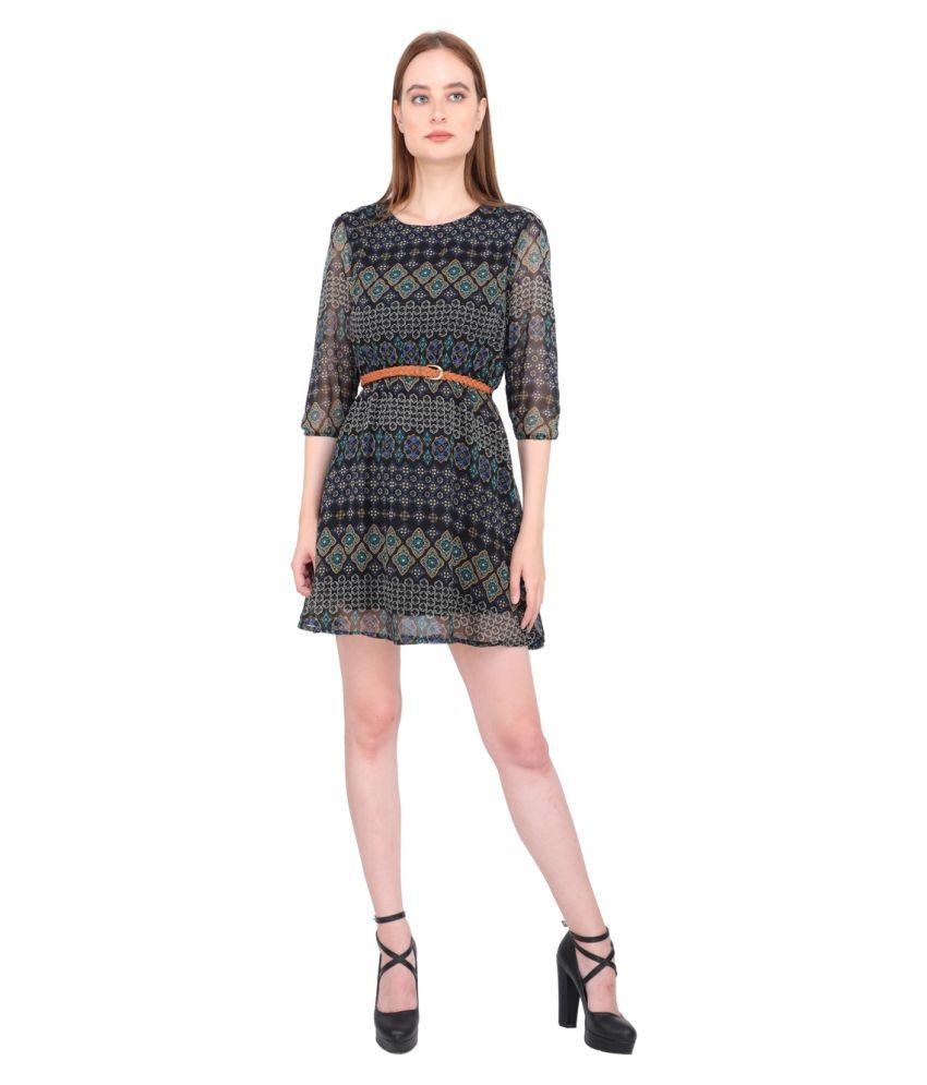 Aanetos Poly Cotton Black Bodycon Dress