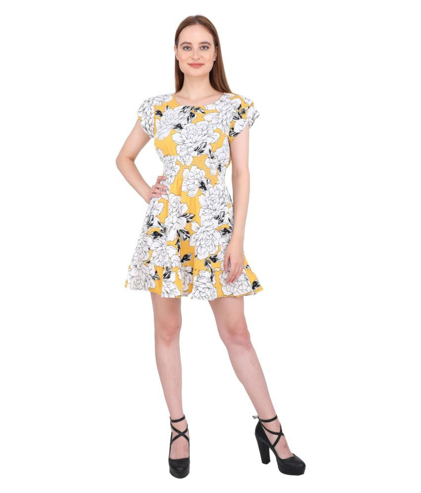 Aanetos Poly Cotton Multi Color Fit And Flare Dress