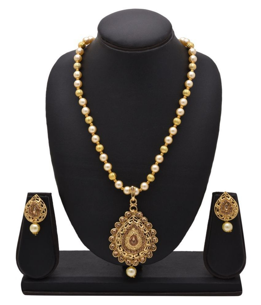 Kord Store Alloy Golden Matinee Traditional Gold Plated Necklaces Set