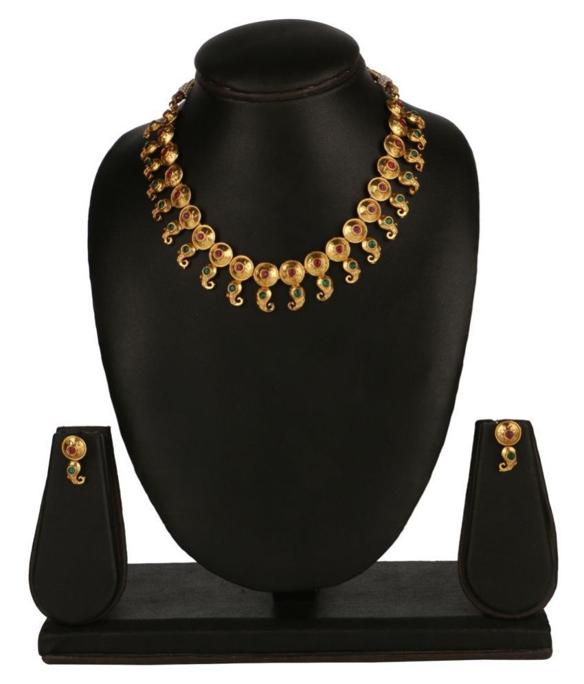 Kord Store Alloy Multi Color Matinee Traditional Gold Plated Necklaces Set