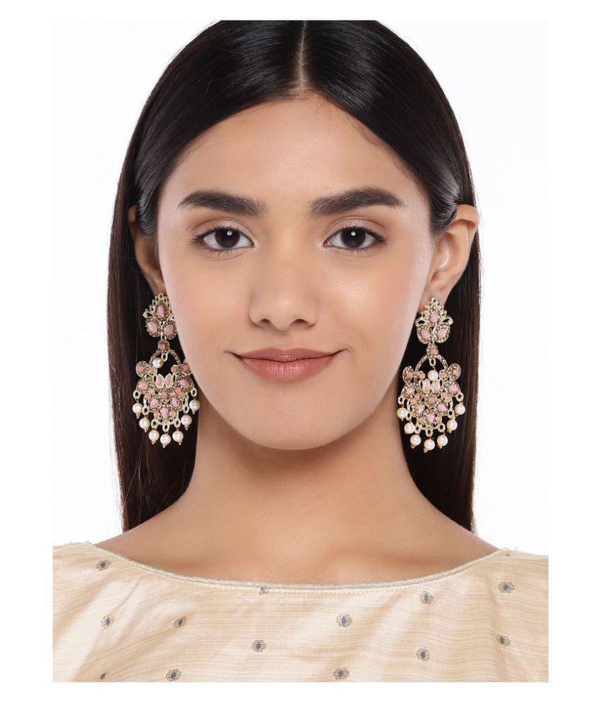 Kord Store Classy Designer Pink Stone Gold Plated Jhumki Earring For Women