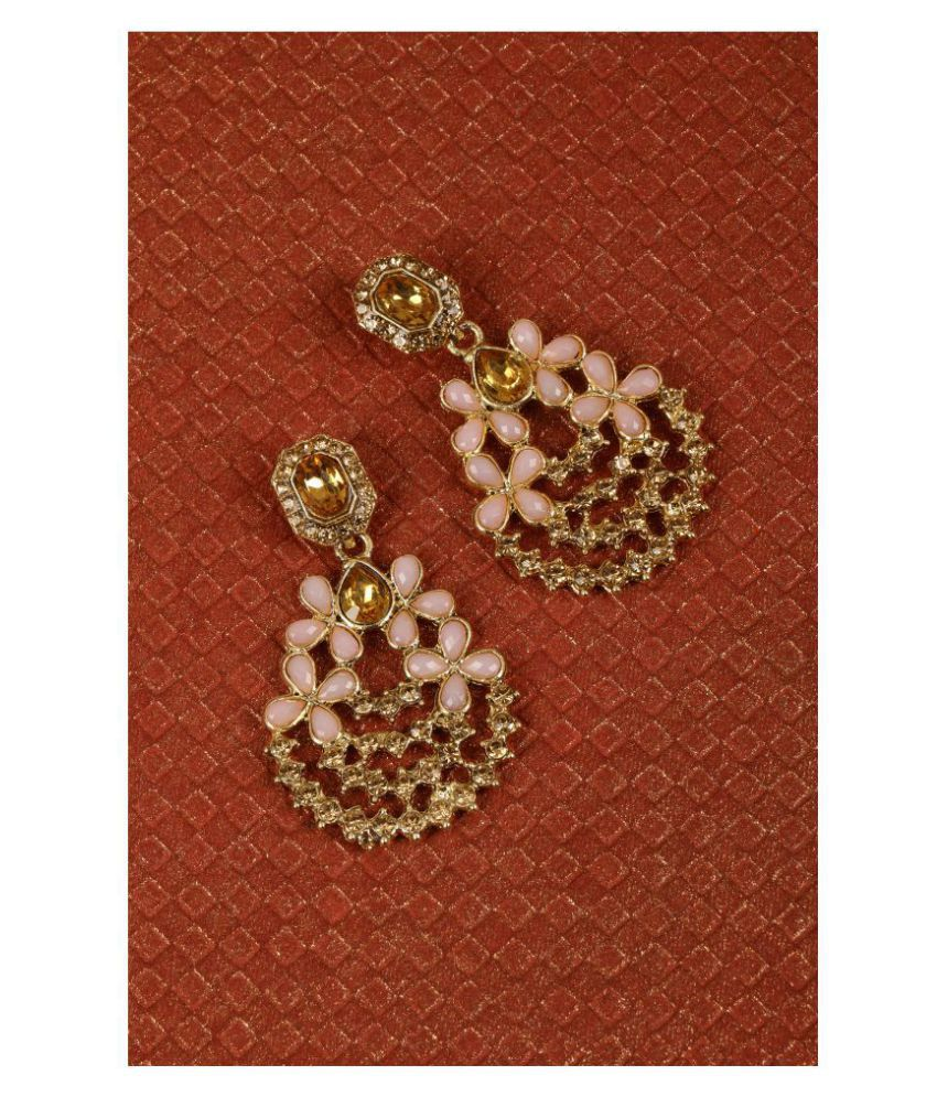 Kord Store Common Pink Flower Design Lct Stone Gold Plated Chand Bali Earring For Women