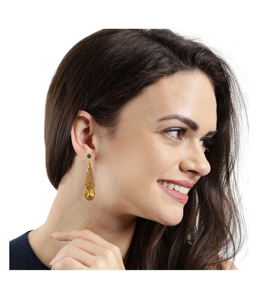 Kord Store Dazzling Designer Lct Stone Gold Plated Dangle Earring For Women