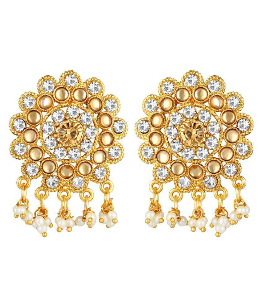 Kord Store Enjoyable Round Shape White Stone Gold Plated Drop Earring For Women