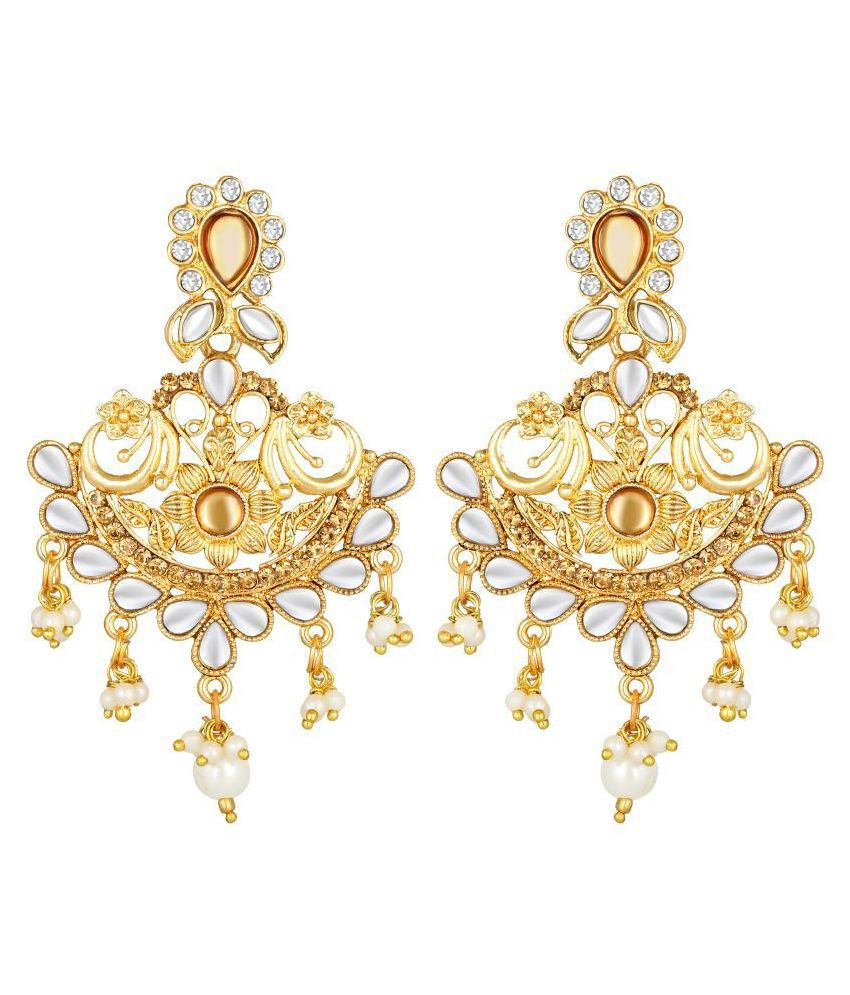 Kord Store Flowing Flower White Stone Gold Plated Chand Bali Earring For Women