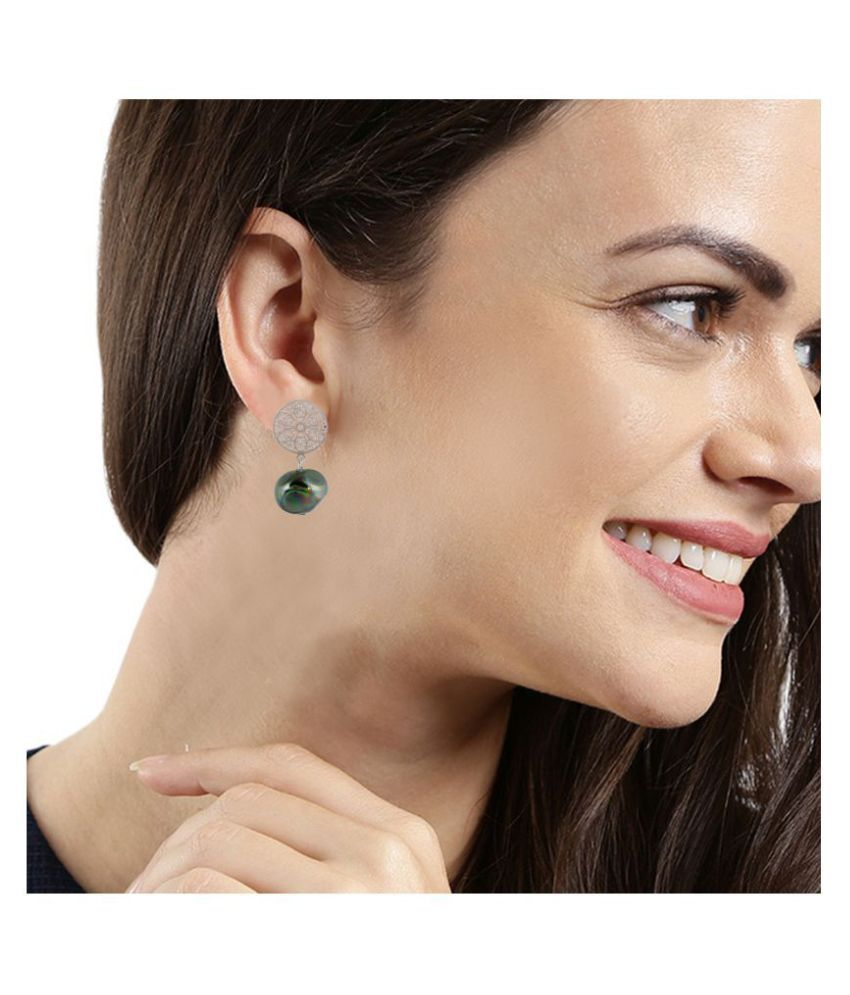 Kord Store Trendy Flower Silver Plated Dangle Earring For Women