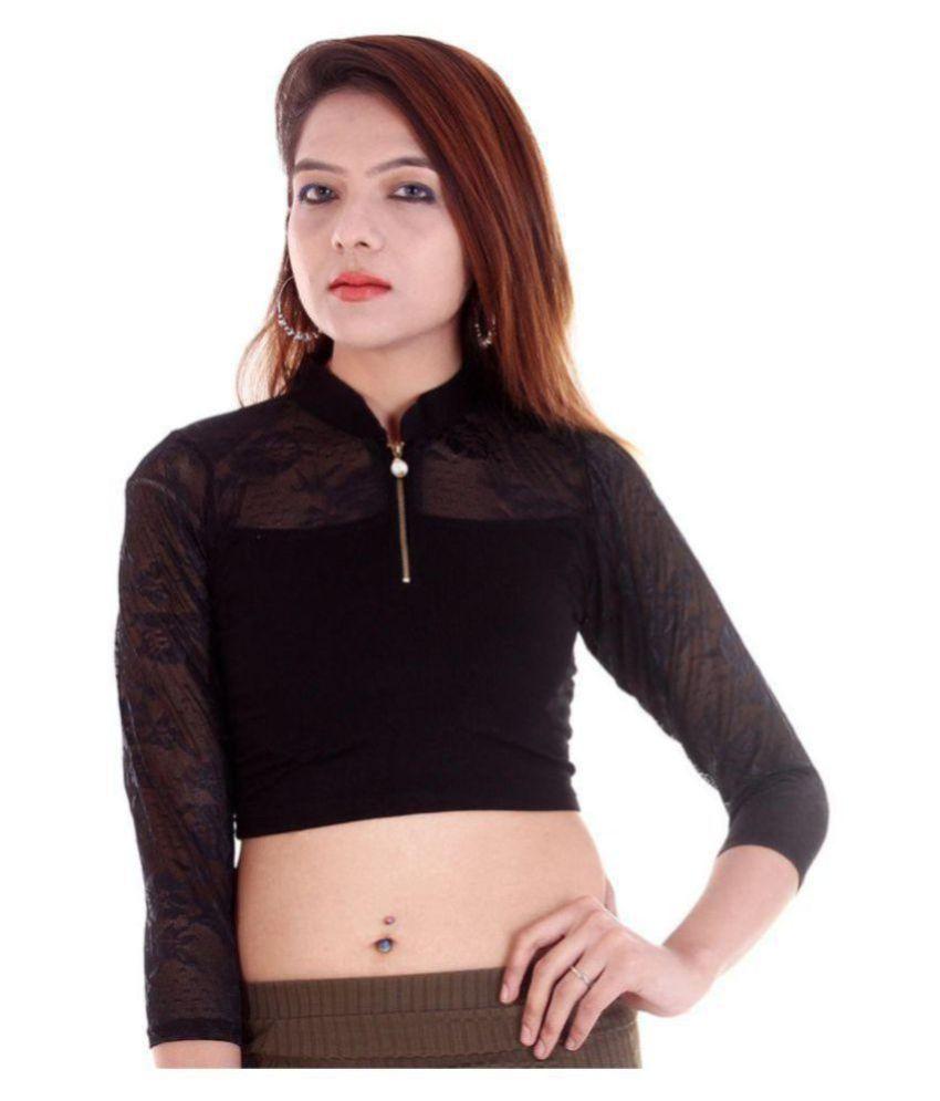 RAJA Black Net Readymade without Pad Blouse