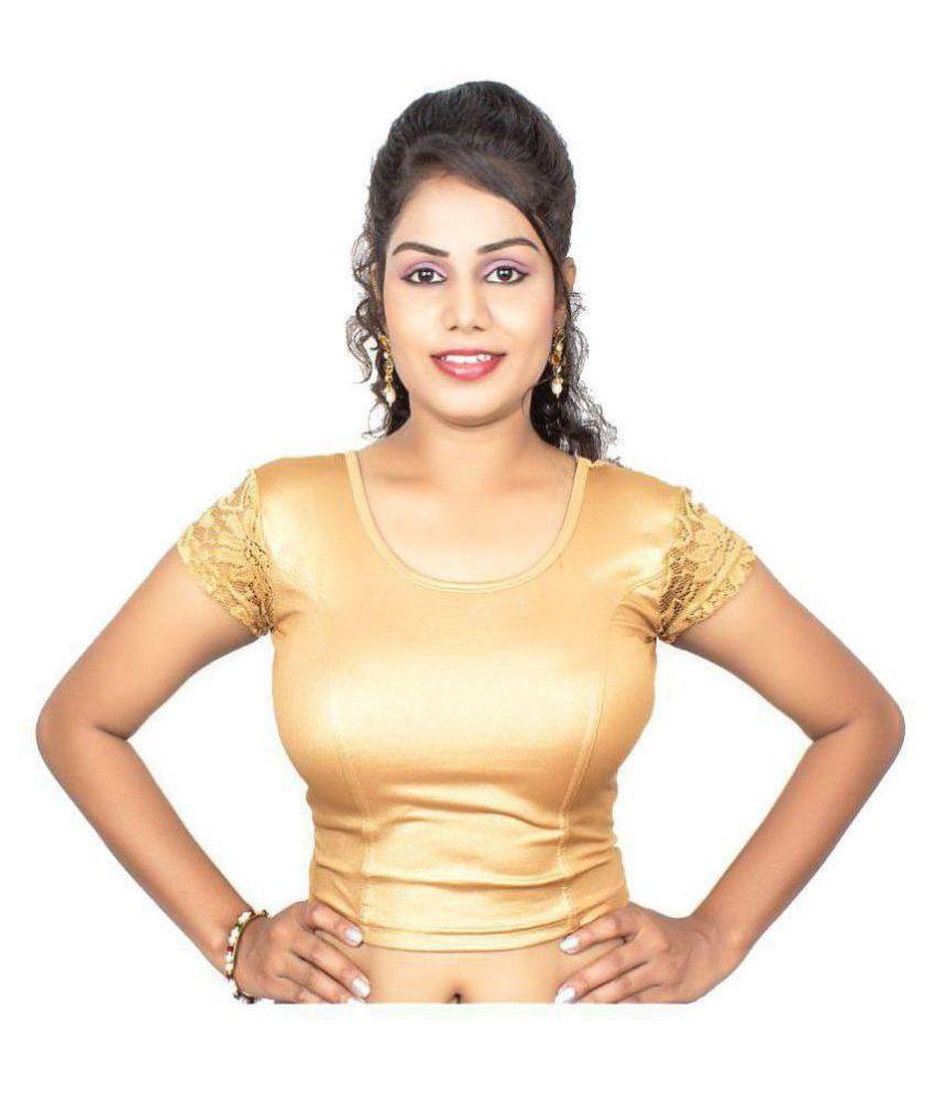 RAJA Gold Jacquard Readymade without Pad Blouse