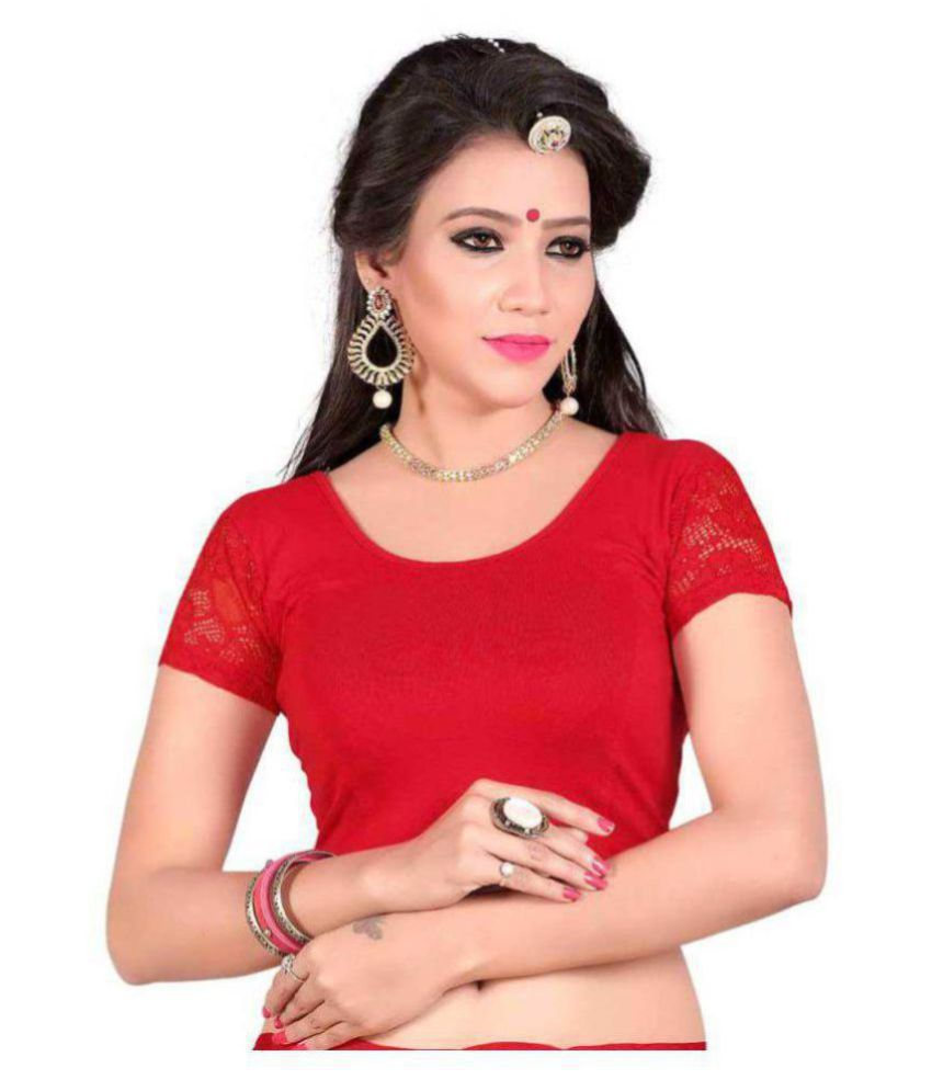 RAJA Red Net Readymade without Pad Blouse
