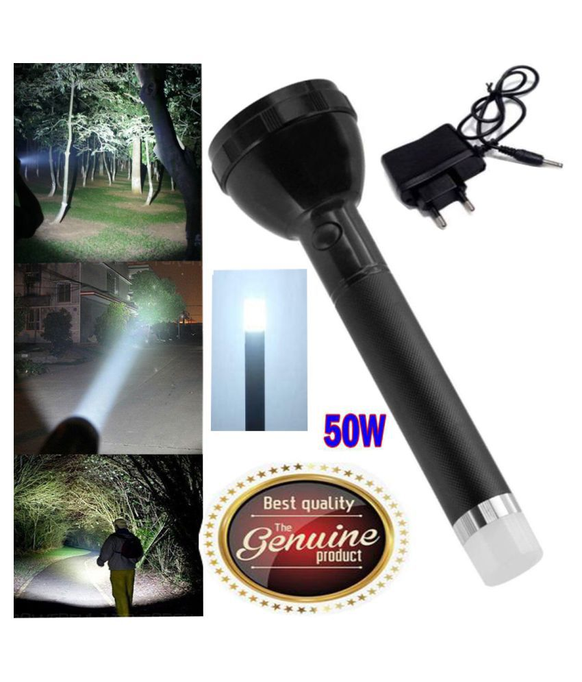 GA Rechargeable Torch With Led Flashlight 12W Flashlight Torch - Pack of 1