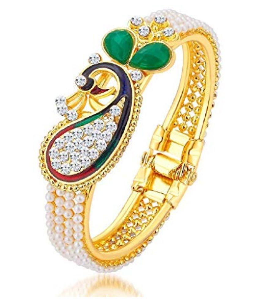 Kord Store Beautiful Peacock Design Golden Bracelet for Women and Girls