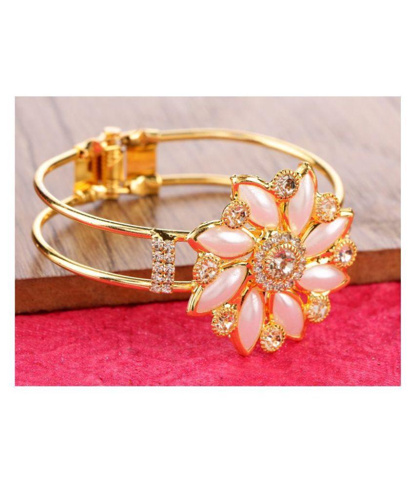 Kord Store Flower Design White Stone Gold Plated Openable Bracelet for Women