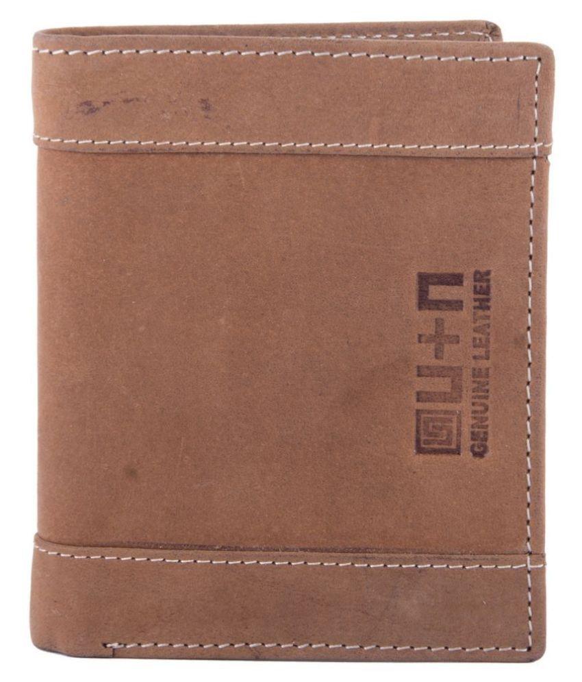 U+N Leather Brown Casual Regular Wallet