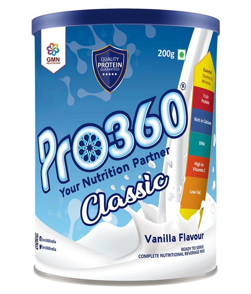 PRO360 Classic Protein Health Drink Powder 200 gm Vanilla