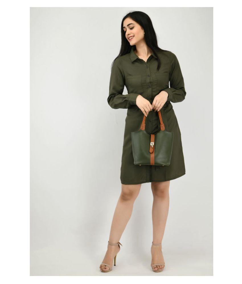 ALISHA_FASHION Crepe Green Shirt Dress