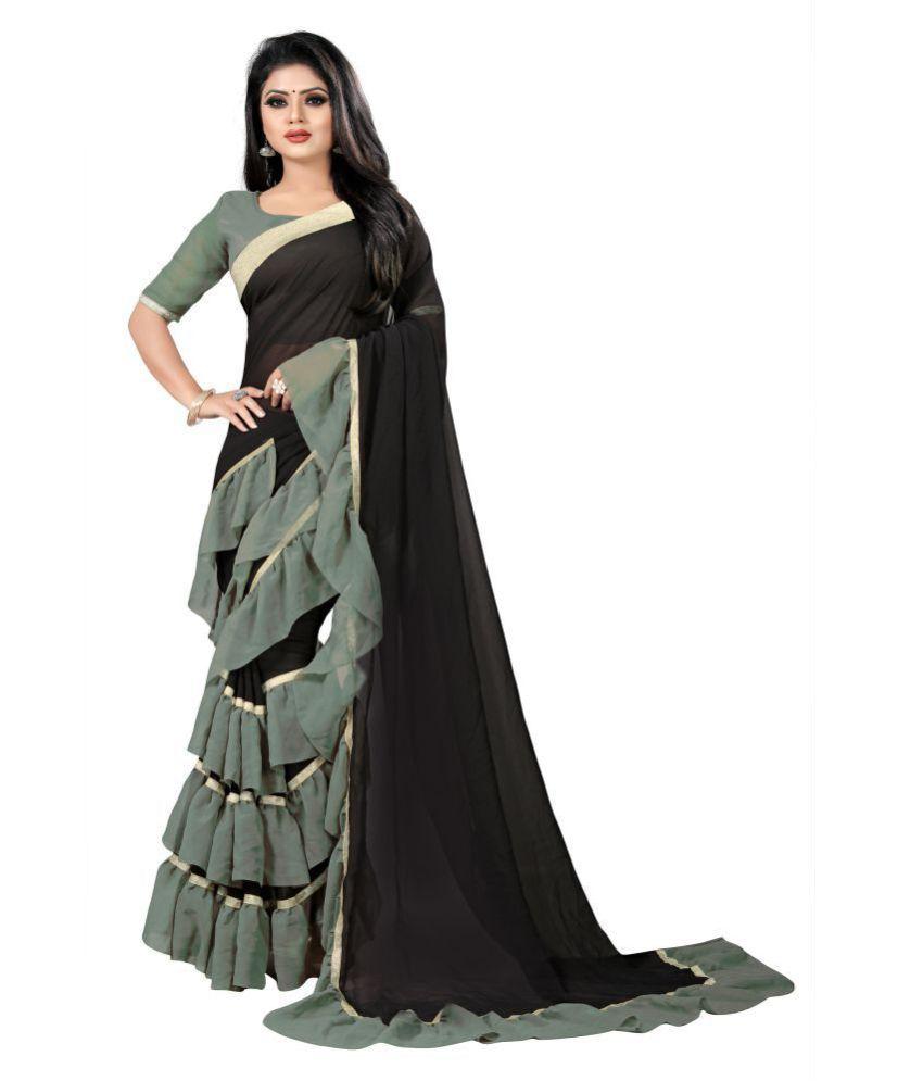 Anjaneya Sarees Black,Green Georgette Saree