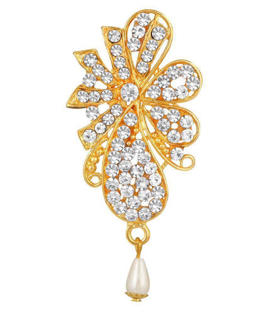 MFJ Fashion Classic Saari Pin Zinc Gold Plated White Stone Brooch For Women