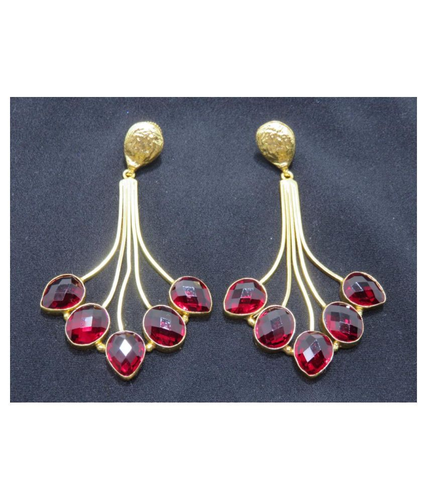 XAGO Gold Toned Danglers With Red Onyx