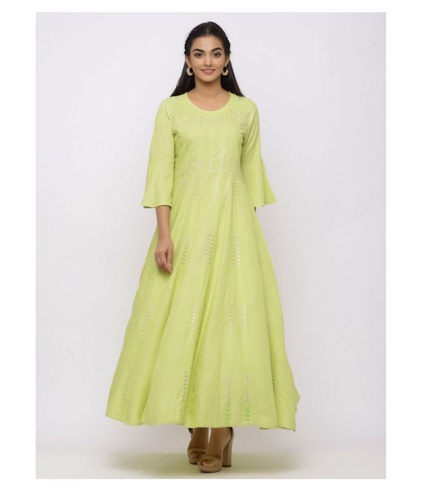 Charu Rayon Green Fit And Flare Dress